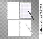 realistic spiral notepads... | Shutterstock .eps vector #697143934