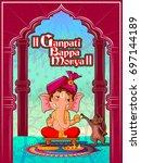 happy ganesh chaturthi festival ... | Shutterstock .eps vector #697144189