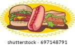 burgers and hotdogs on a white... | Shutterstock .eps vector #697148791