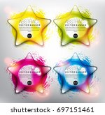 abstract vector banner set of 4.... | Shutterstock .eps vector #697151461