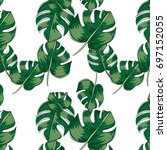seamless pattern.tropical leaf... | Shutterstock .eps vector #697152055