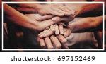 happy volunteer family putting... | Shutterstock . vector #697152469
