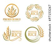 wreath paddy premium rice... | Shutterstock .eps vector #697153267