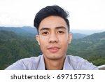 asian men selfie in outdoor... | Shutterstock . vector #697157731