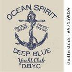 deep blue ocean spirit yacht... | Shutterstock .eps vector #697159039