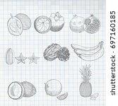 exotic fruits set mangosteen ...   Shutterstock .eps vector #697160185