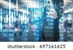 businessman hand touch virtual... | Shutterstock . vector #697161625