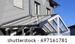 glass canopy front door | Shutterstock . vector #697161781