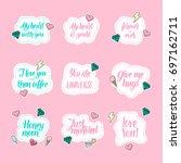 modern calligraphy stickers...   Shutterstock .eps vector #697162711