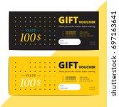 trendy abstract gift voucher... | Shutterstock .eps vector #697163641