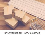 many cardboard boxes and... | Shutterstock . vector #697163935