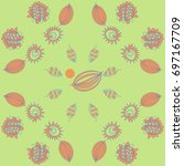 floral   pattern with spots.... | Shutterstock .eps vector #697167709