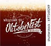 oktoberfest beer background... | Shutterstock .eps vector #697168249