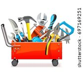 vector toolbox trolley with... | Shutterstock .eps vector #697169251