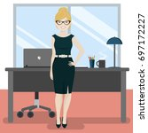 cute secretary at the office... | Shutterstock .eps vector #697172227