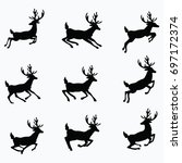 A Set Of Silhouettes Of Running ...