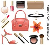 vector fashion accessories set 9 | Shutterstock .eps vector #697173859