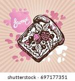 hand drawn doodle dessert...   Shutterstock .eps vector #697177351