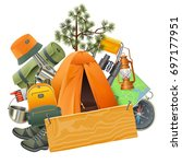 vector camping concept with tent | Shutterstock .eps vector #697177951