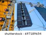 big professional loud speaker... | Shutterstock . vector #697189654