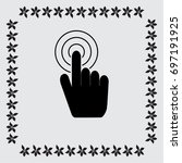 hand with touching a button or... | Shutterstock .eps vector #697191925