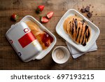 paper plates with american... | Shutterstock . vector #697193215
