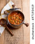 meat and vegetables goulash  or ... | Shutterstock . vector #697193419