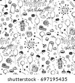 hand sketched party doodles... | Shutterstock .eps vector #697195435