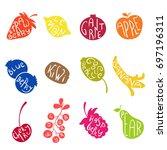fruits set  juice vegan diet...   Shutterstock .eps vector #697196311
