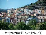 view to bosa in sardegna  italy | Shutterstock . vector #697196341