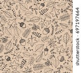 vector hand drawn pattern with... | Shutterstock .eps vector #697197664