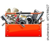 vector red toolbox with car... | Shutterstock .eps vector #697198627