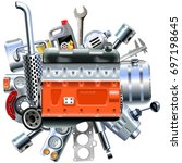 vector engine with truck spares | Shutterstock .eps vector #697198645