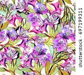 floral repeat | Shutterstock . vector #697199311