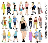 summer people shopping large set | Shutterstock .eps vector #697199377