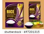 golden rice package thailand...   Shutterstock .eps vector #697201315