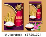 golden rice package thailand... | Shutterstock .eps vector #697201324