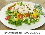 chicken boiled salad fresh... | Shutterstock . vector #697202779
