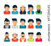 vector set of people expressing ... | Shutterstock .eps vector #697204141