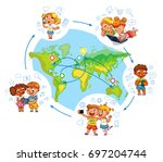 children interact with each... | Shutterstock .eps vector #697204744
