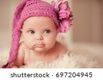 cute funny baby 2 3 months old... | Shutterstock . vector #697204945