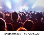 crowd at concert   cheering... | Shutterstock . vector #697205629