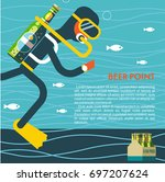 the diver with a bottle of beer ... | Shutterstock .eps vector #697207624