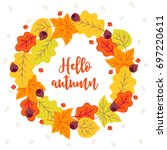 autumn wreath with rowan ... | Shutterstock .eps vector #697220611