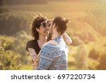 beautiful couple in love... | Shutterstock . vector #697220734