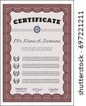 red sample diploma. artistry... | Shutterstock .eps vector #697221211