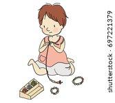 vector illustration of little... | Shutterstock .eps vector #697221379
