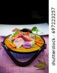 japanese food  kaiseki sashimi... | Shutterstock . vector #697223257