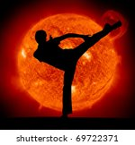 Martial Art. Karate Man And Sun ...