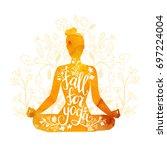 fall for yoga. seasonal... | Shutterstock .eps vector #697224004
